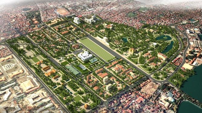 Phối cảnh đồ án quy hoạch Khu trung tâm chính trị Ba Đình.