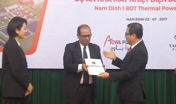 Trao Giấy chứng nhận đăng ký đầu tư cho dự án Nhà máy nhiệt điện BOT Nam Định 1