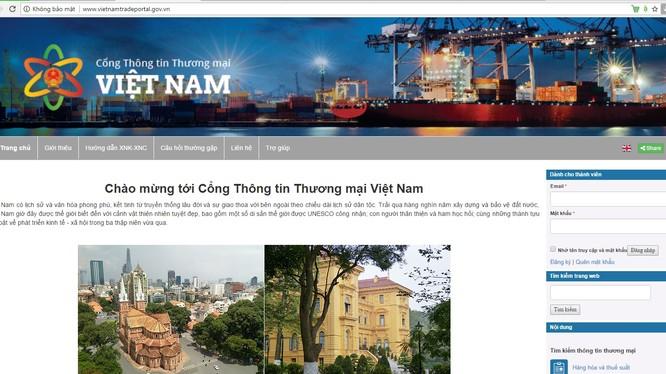 Giao diện Cổng thông tin thương mại Việt Nam