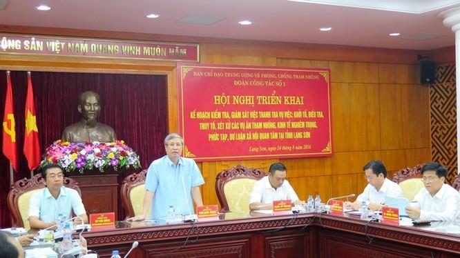 Đoàn công tác của Ban Chỉ đạo Trung ương về PCTN kiểm tra, giám sát tại Lạng Sơn năm 2016 - Ảnh: Báo điện tử ĐCS