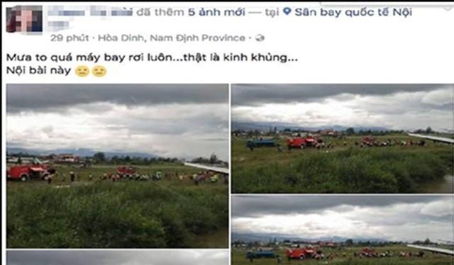 """Hinh ảnh trên tài khoản facebook tung tin """"máy bay rơi ở Nội Bài"""""""