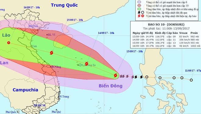 Trung tâm Dự báo Khí tượng thủy văn Trung ương cho biết bão có thể đổ bộ vào Bắc Trung Bộ. Ảnh: NCHMF.