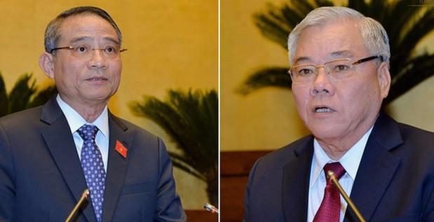 Ông Trương Quang Nghĩa (trái) và ông Phan Văn Sáu. Ảnh: Quochoi.vn