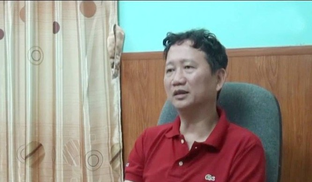 """Ông Trịnh Xuân Thanh khi về nước """"đầu thú"""". Hình cắt từ clip của VTV"""