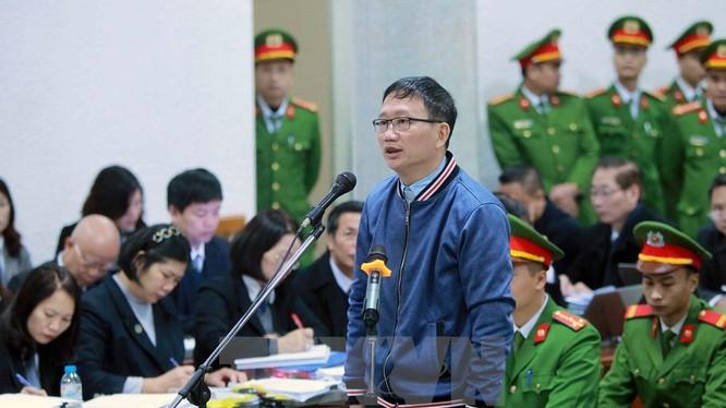 Bị cáo Trịnh Xuân Thanh tại phiên xử 9/1/2018. Ảnh: TTXVN