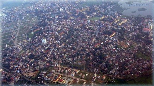 Thành phố Phúc Yên nhìn từ máy bay. Ảnh: VGP