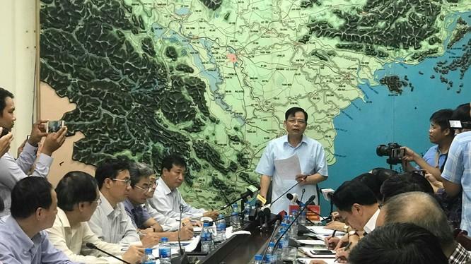 Bộ trưởng Nguyễn Xuân Cường tại cuộc họp. Ảnh: Ban Chỉ đạo Trung ương về phòng chống thiên tai.