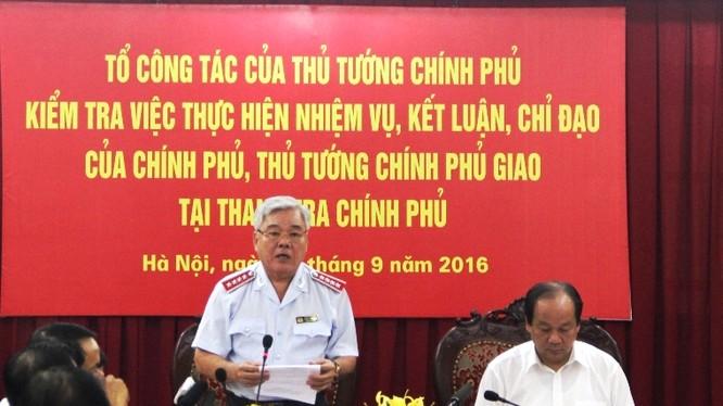 Tổng Thanh tra Chính phủ Phan Văn Sáu báo cáo kết quả thực hiện nhiệm vụ Thủ tướng giao.