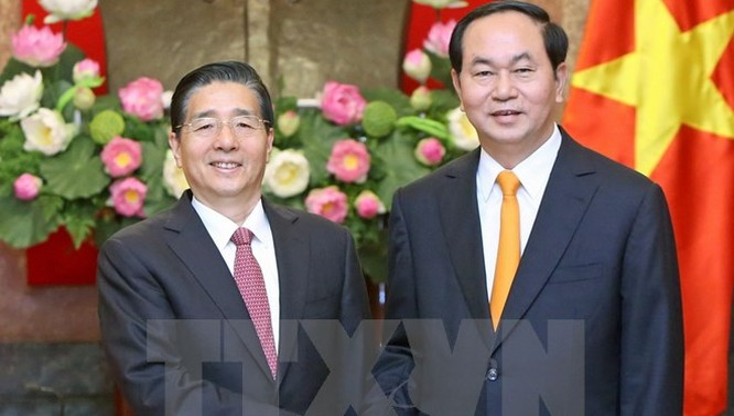 Chủ tịch nước Trần Đại Quang tiếp Bộ trưởng Bộ Công an Trung Quốc (Ảnh TTX)