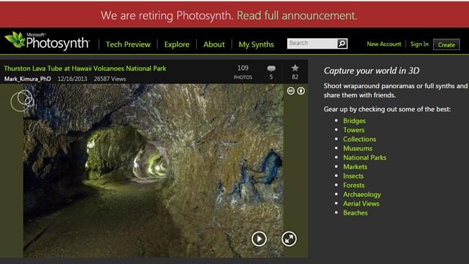 Dịch vụ Photosynth sẽ bị đóng cửa vào tháng 2.2017