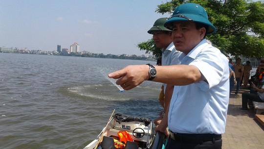 Ngay sau khi có hiện tượng cá Hồ Tây chết hàng loạt, Chủ tịch UBND TP Nguyễn Đức Chung đã đi kiểm tra.