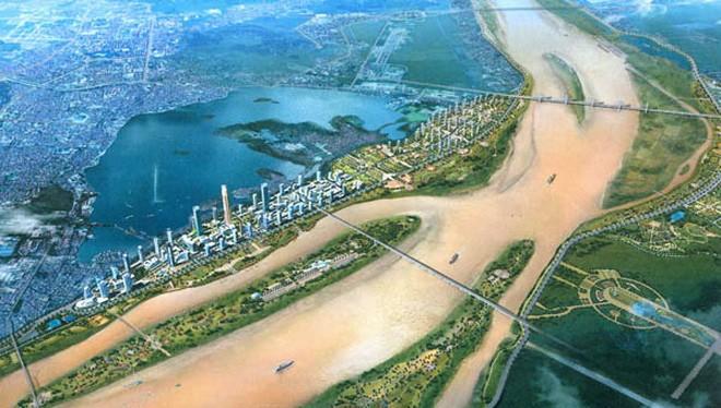 Phối cảnh quy hoạch thành phố Hà Nội dọc hai bên sông Hồng.