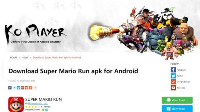 Mạng KO Player chia sẻ tập tin cài đặt Super Mario Run cho Android và Windows nhưng thực chất là tập tin nhúng kèm mã độc - Ảnh: VentureBeat