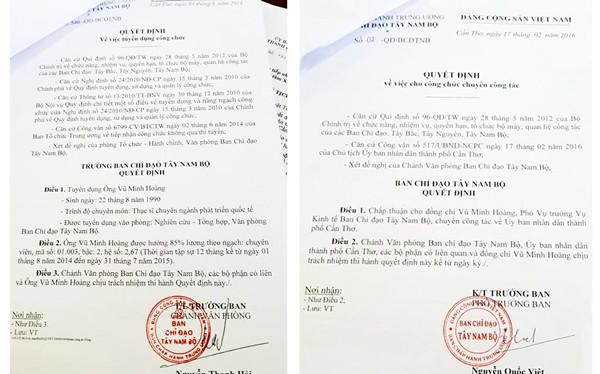 Các quyết định bổ nhiệm liên quan đến ông Vũ Minh Hoàng
