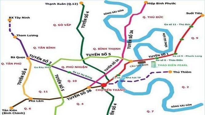 Sơ đồ các tuyến metro TP.HCM - Ảnh tư liệu