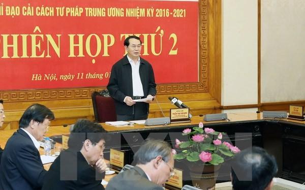 Chủ tịch nước Trần Đại Quang phát biểu kết luận phiên họp. Ảnh: TTXVN