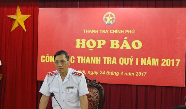 Ông Ngô Văn Khánh, Phó Tổng Thanh tra Chính phủ trả lời tại buổi họp báo.