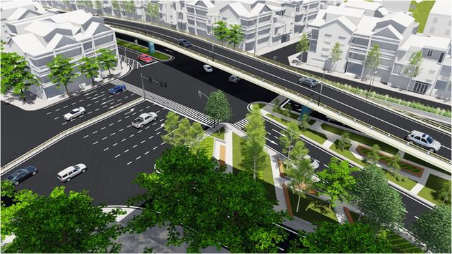 Phối cảnh cầu vượt tại nút giao An Dương - đường Thanh Niên (Ảnh: Ban quản lý dự án đầu tư xây dựng công trình giao thông thành phố Hà Nội).