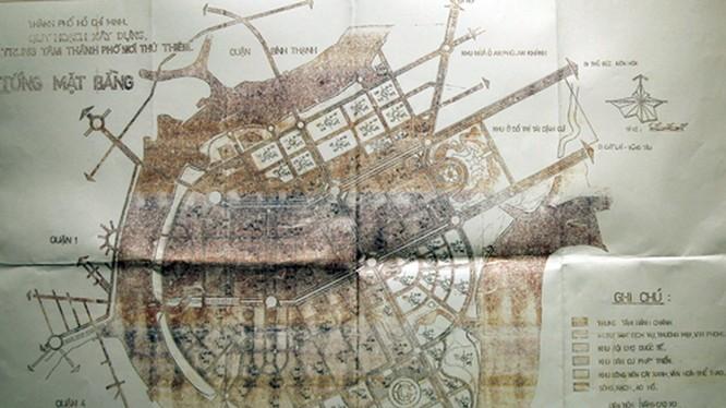 Bản đồ được cho là quy hoạch 1/5.000 khu đô thị mới Thủ Thiêm được Thủ tướng phê duyệt năm 1996.