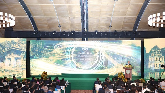 """Hội nghị """"Hà Nội 2018 - hợp tác đầu tư và phát triển"""" diễn ra vào sáng 17/6."""