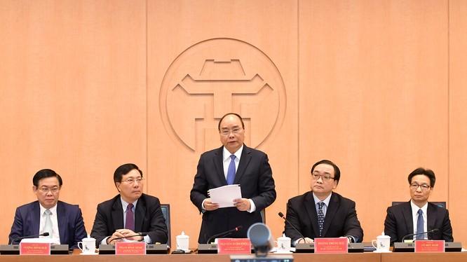 Thủ tướng Nguyễn Xuân Phúc phát biểu tại buổi làm việc/ Ảnh: VGP