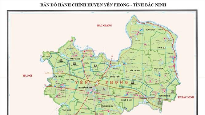 Địa điểm thực hiện dự án tại xã Đông Tiến, xã Trung Nghĩa và thị trấn Chờ, huyện Yên Phong.