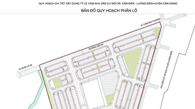 Bản đồ quy hoạch phân lô khu dân cư mới Cẩm Điền - Lương Điền/ Ảnh: baohaiduong.vn