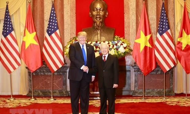 Tổng Bí thư, Chủ tịch nước Nguyễn Phú Trọng tiếp Tổng thống Hoa Kỳ Donald Trump/ Ảnh: Trí Dũng/TTXVN