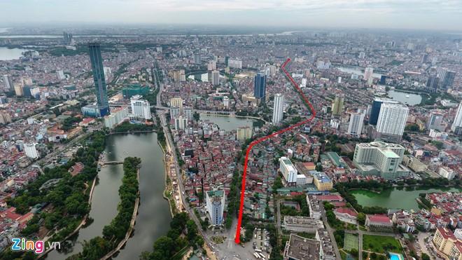 Dự án đầu tư tuyến đường Hoàng Cầu - Voi Phục (giai đoạn 1), dài 2,2km, tổng mức đầu tư khoảng 7.200 tỷ đồng/ Ảnh: zing.vn