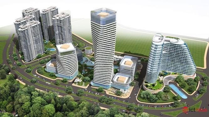 Phối cảnh tổng thể nhìn từ trên cao Khu Công viên CNTT tập trung Quảng Ninh do Hanel đề nghị đầu tư tại phường Tuần Châu, TP.Hạ Long.