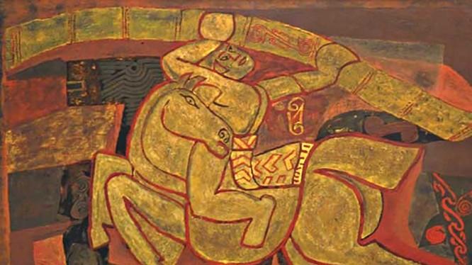 Bức tranh Gióng (1990) của tác giả Nguyễn Tư Nghiêm (1922 - 2016), chất liệu sơn mài, kích thước 90 x 120,3 cm. Ảnh: Kiều Dương