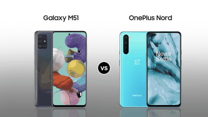 Samsung Galaxy M51 vs OnePlus Nord 5G (Ảnh: Smart Prix)