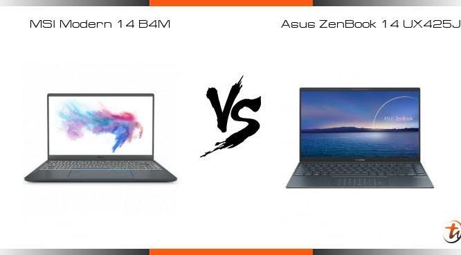 MSI Modern 14 vs Asus Zenbook 14 UX425 (Ảnh: TechNave)