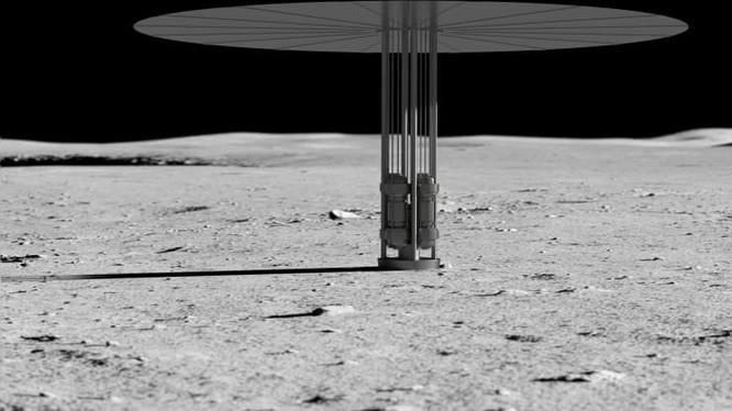 Hình minh họa khái niệm hệ thống điện phân hạch hạt nhân trên Mặt trăng (Ảnh: CNBC)