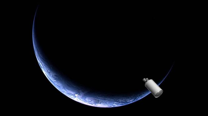 Hình ảnh minh họa một bộ đẩy phụ tên lửa gần Trái Đất (ẢNh: SYFY)
