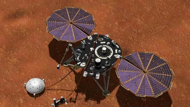 Tàu thăm dò sao hỏa InSight của NASA (Ảnh: BGR)