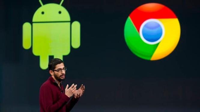 Sundar Pichai, phó chủ tịch cấp cao của Android, Chrome và Apps của Google Inc., phát biểu trong Hội nghị các nhà phát triển Google I / O (Ảnh: CNBC)