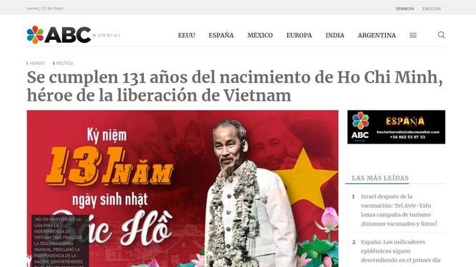 Ảnh chụp màn hình bài viết về Chủ tịch Hồ Chí Minh trên trang ABC Mundial