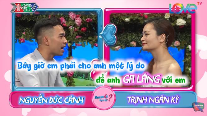 """Cặp đôi Đức Cảnh - Ngân Kỳ đấu khẩu trong chương trình """"Bạn muốn hẹn hò"""". Ảnh: Vietnamnet"""