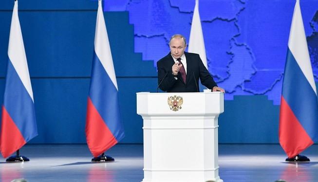 Tổng thống Nga V.Putin đọc Thông điệp Liên bang năm 2020, trong đó đề xuất sửa đổi Hiến pháp Liên bang Nga năm 1993 để bảo vệ chủ quyền quốc gia của Nga (Ảnh: TASS).