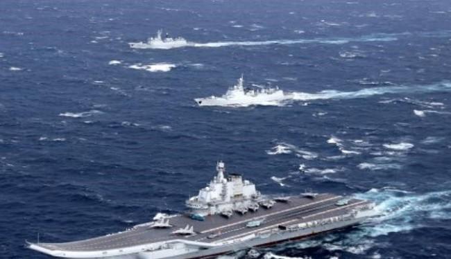 Biên đội tàu sân bay Liêu Ninh, Hải quân Trung Quốc. Ảnh: Reuters/Thời báo Tự do Đài Loan.