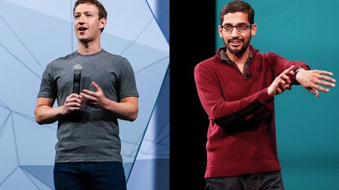 CEO của Facebook Mark Zuckerberg và CEO của Google Sundar Pichai