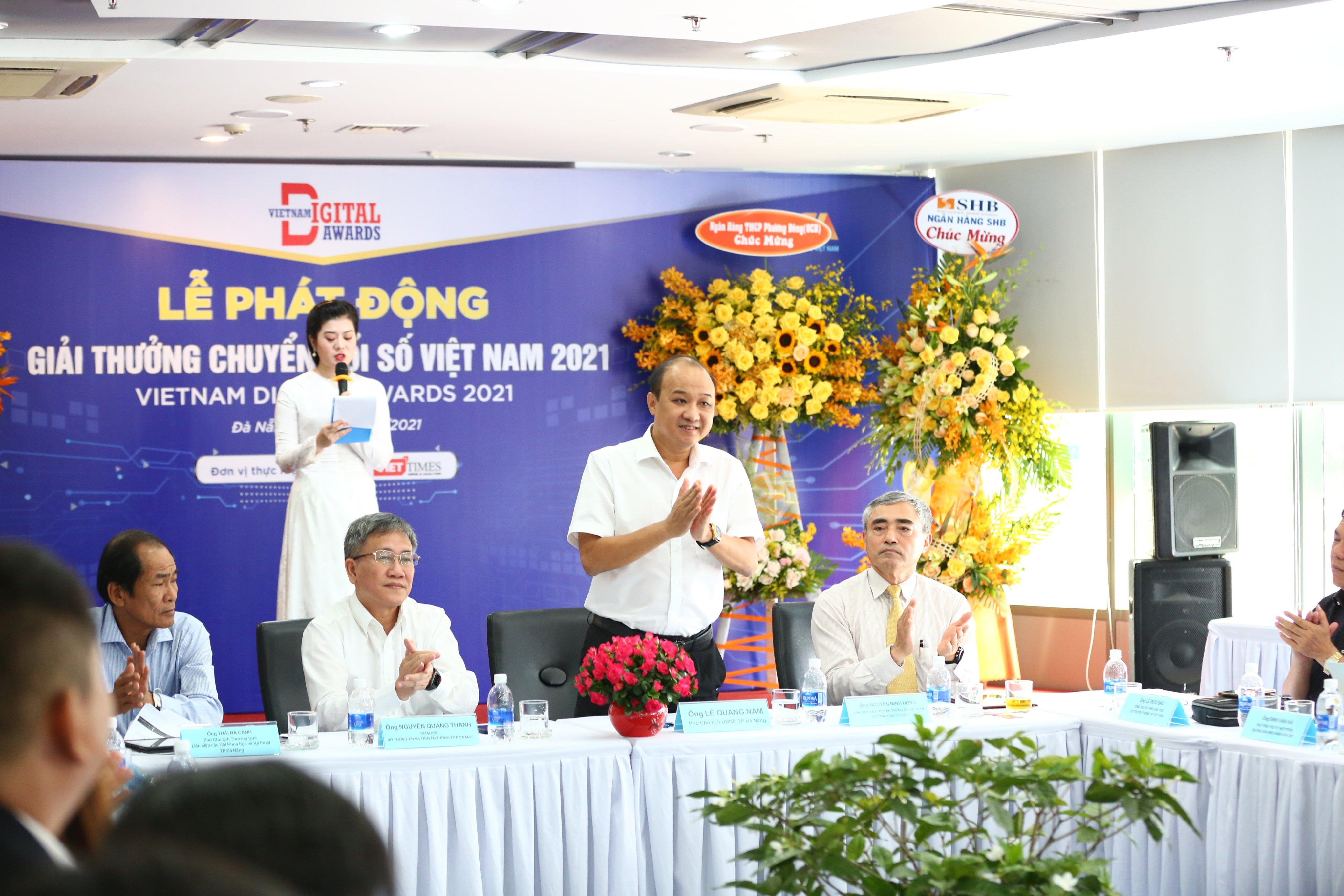 Ông Lê Quang Nam, Phó Chủ tịch UBND thành phố Đà Nẵng phát biểu tại Lễ phát động Giải thưởng Chuyển đổi số Việt Nam 2021