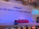 """Cả 2 phiên họp ĐHĐCĐ mà Eximbank tổ chức hôm 30/6 đều dùng chung """"backdrop"""""""