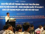 Phó Chủ tịch Hội Truyền thông số Việt Nam, ông Nguyễn Xuân Cường phát biểu tại Hội thảo.