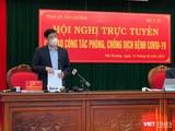 Bộ trưởng Nguyễn Thanh Long cùng Bí thư Tỉnh uỷ Hải Dương Phạm Xuân Thăng chủ trì hội nghị trực tuyến tại vùng dịch Hải Dương.