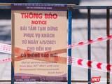 Bảng thông báo dừng phục vụ tại bãi biển du lịch Đà Nẵng trong sáng ngày 4/5