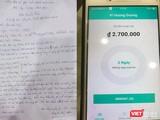 Đơn trình báo của nạn nhân và số tiền nợ phải trả thông báo qua app di động khi sử dụng tín dụng trên nền tảng di động