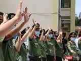 Quang cảnh lễ tiễn đoàn y bác sĩ Bệnh viện 199 - Bộ Công an tại Đà Nẵng lên đường chi viện cho TP HCM chống dịch COVID-19