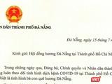 Bức thư của ông Lê Trung Chinh - Chủ tịch UBND TP Đà Nẵng gửi bà con Đà Nẵng tại TP HCM